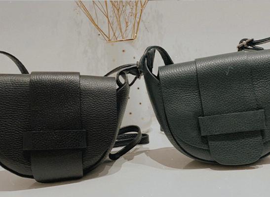 Tasche aus echtem Leder - schwarz