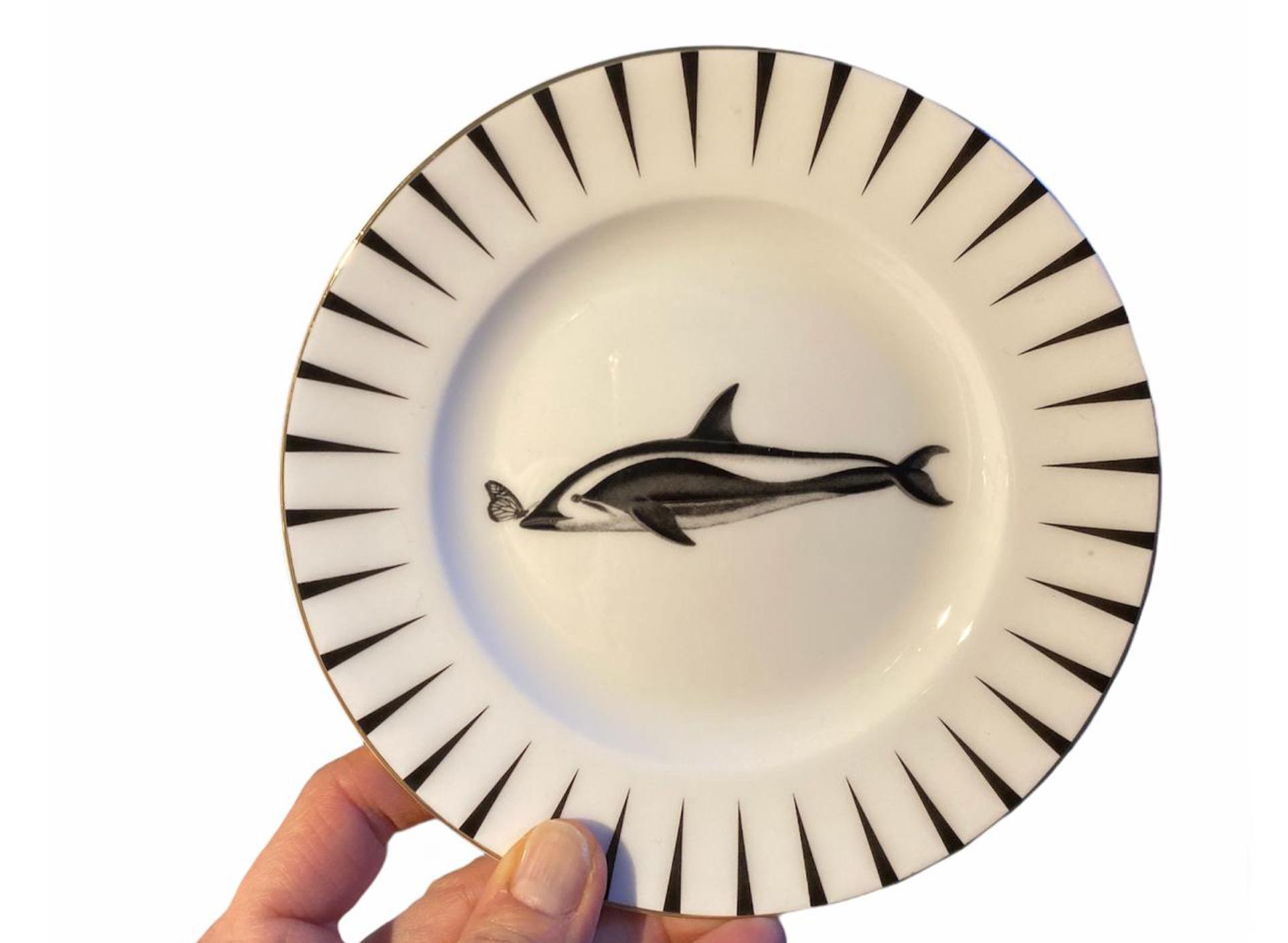 Dessertteller mit Delfin - weiß