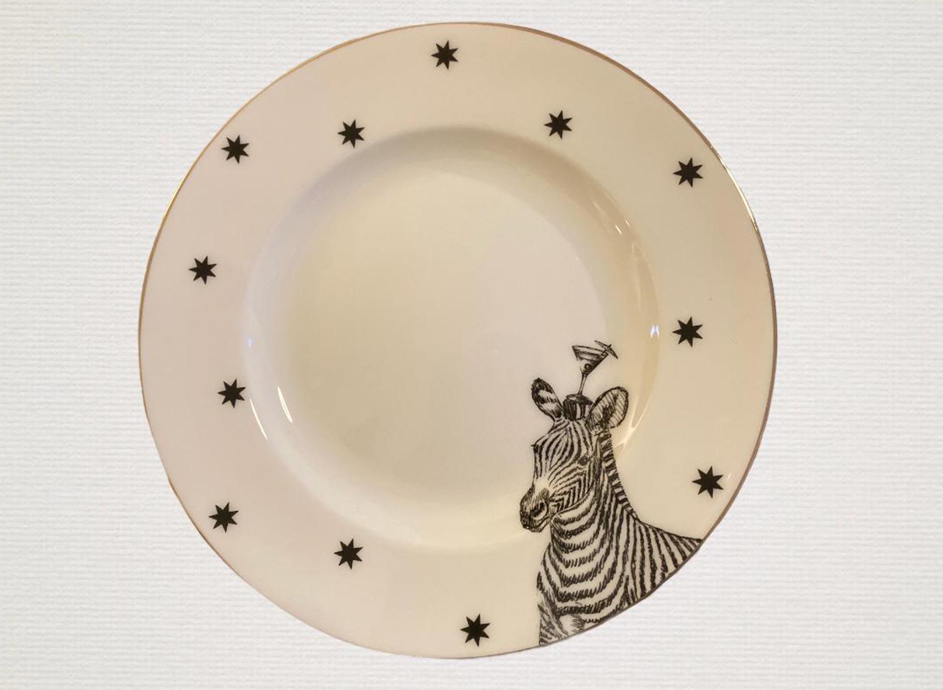 Dessertteller mit Zebra - weiß