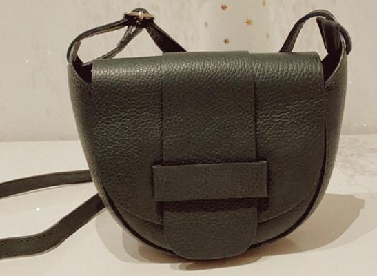 Tasche aus echtem Leder - dunkelgrün