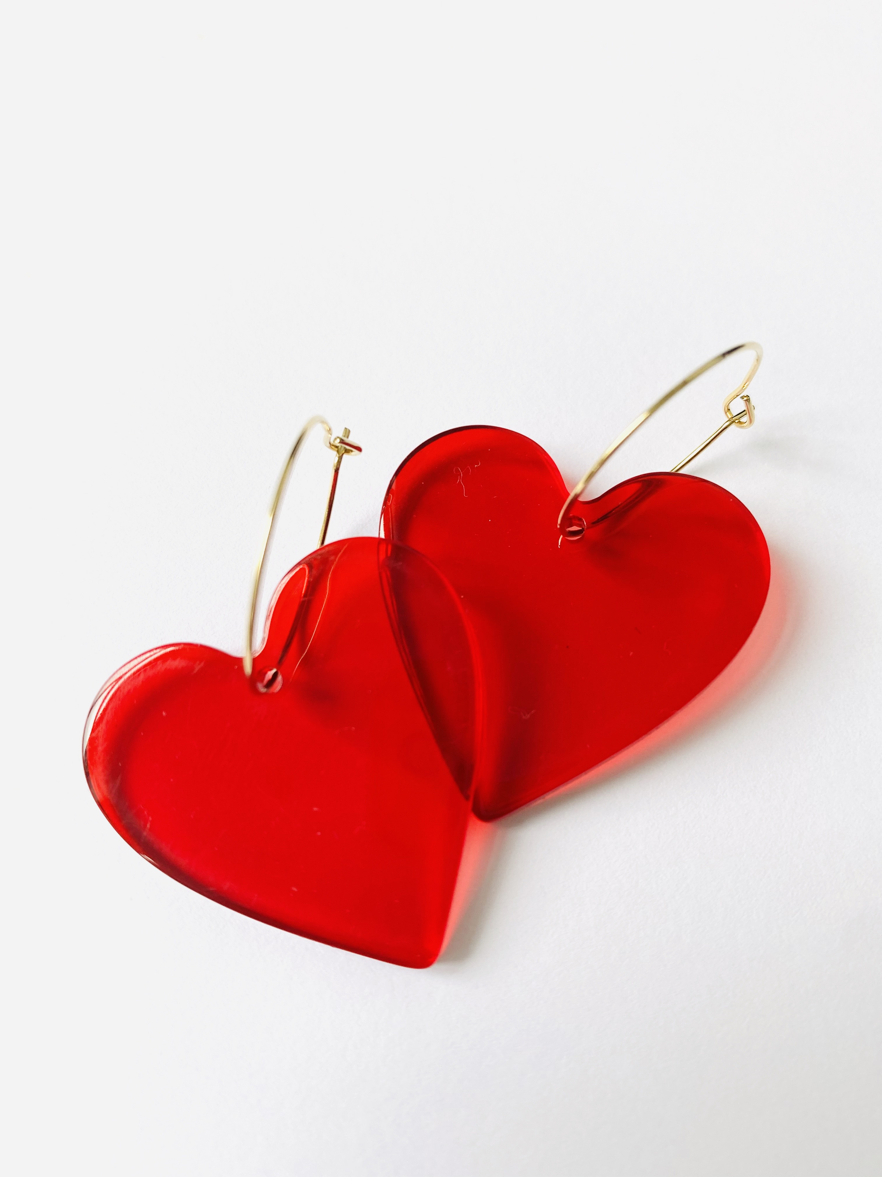 Herz-Ohrringe rot