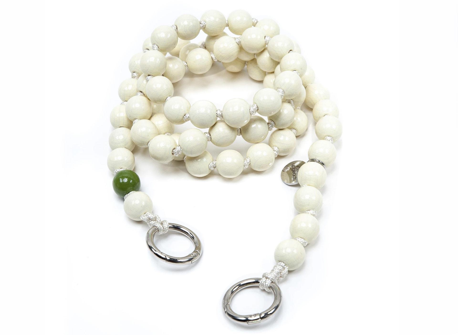 Handykette mit Perlen - weiß