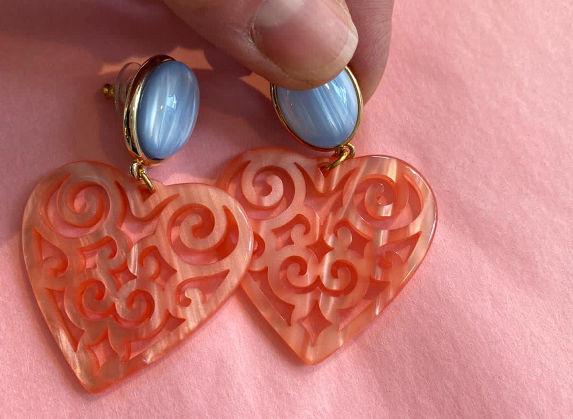 Herzohrringe - Koralle