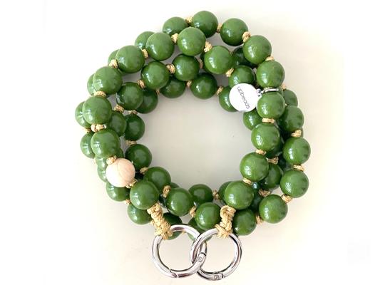Handykette mit Perlen - olive