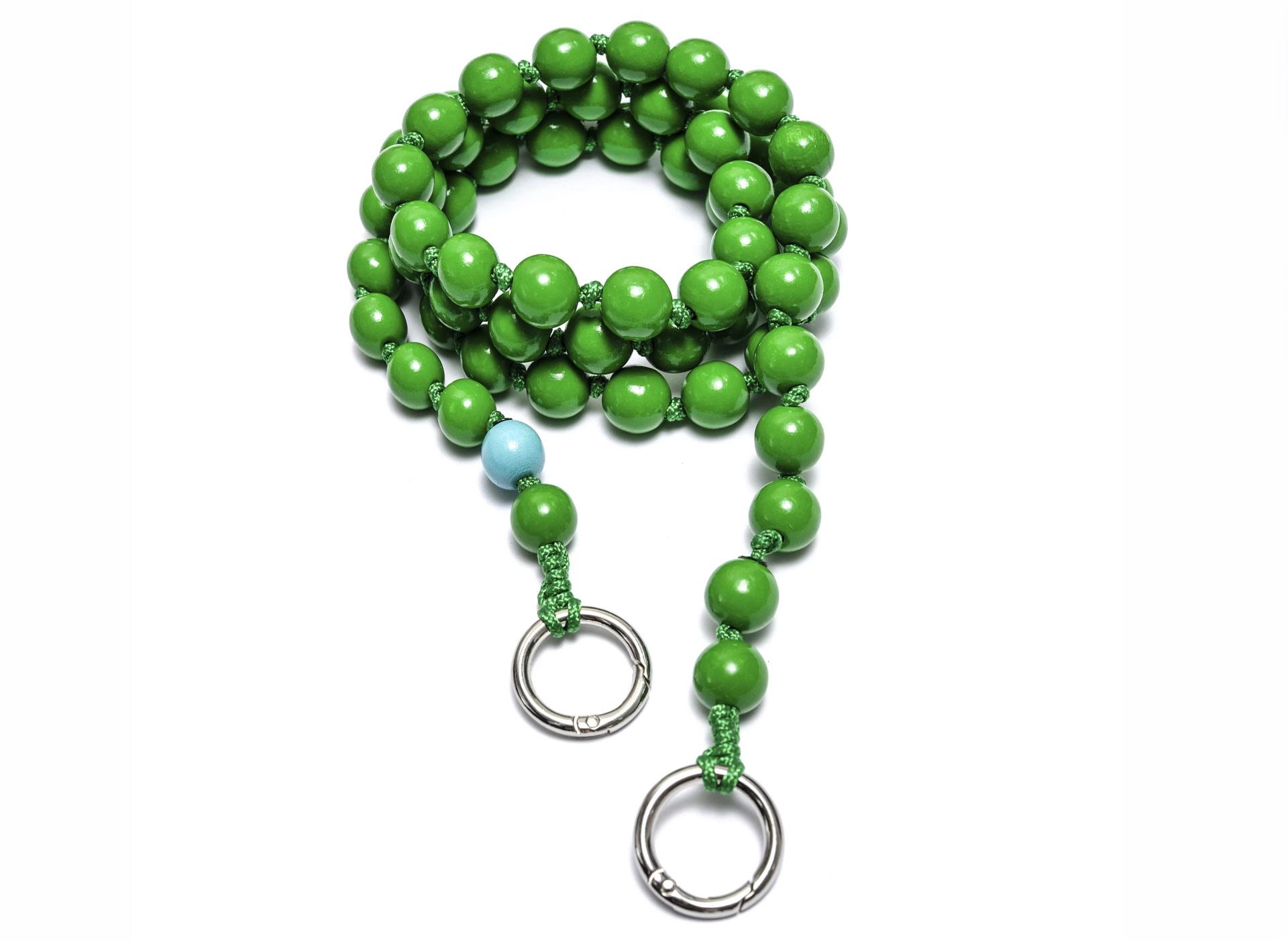 Handykette mit Perlen - emerald (lang)