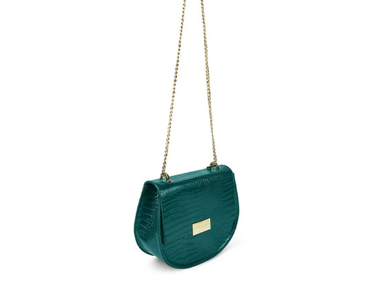 Celine 'faux croc' Saddle Bag - forest green