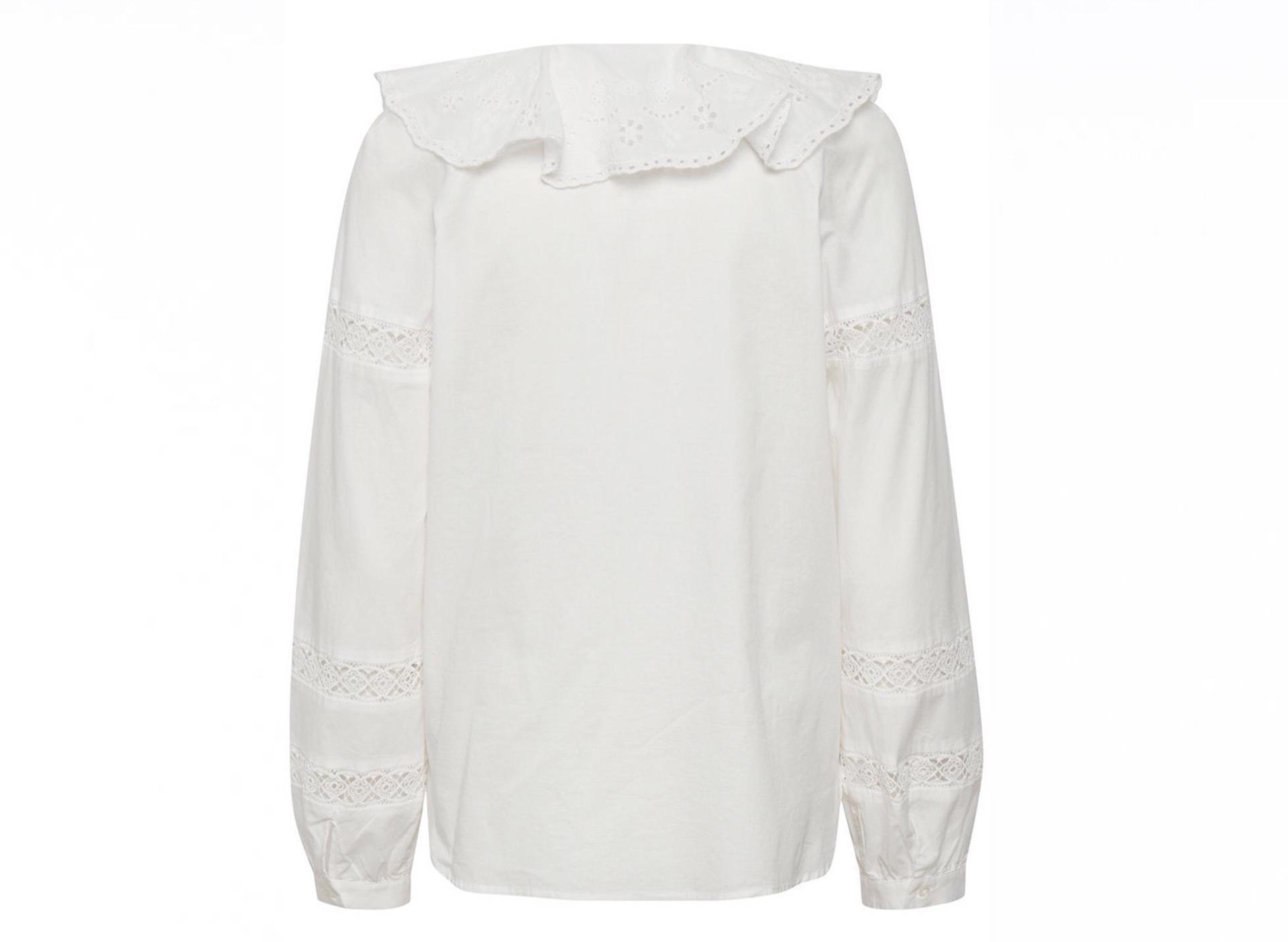 Bluse mit großem Kragen - weiß