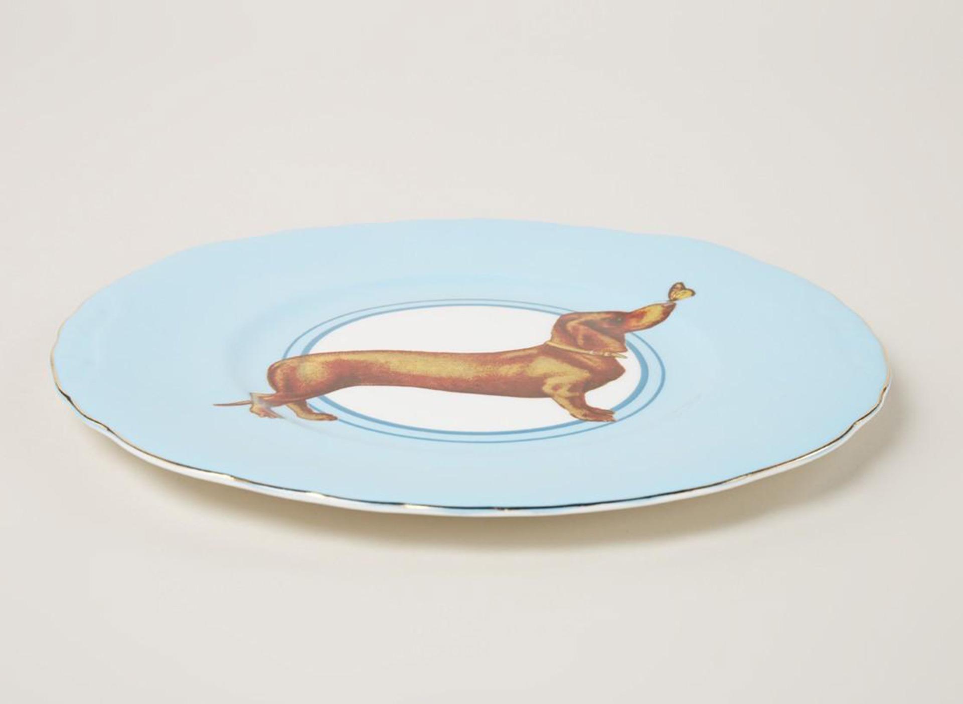Teller mit Dackelmotiv - blau