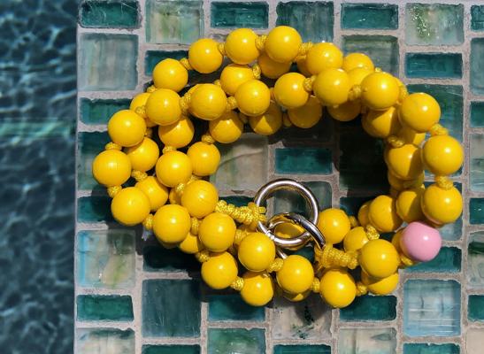 Handykette mit Perlen - gelb