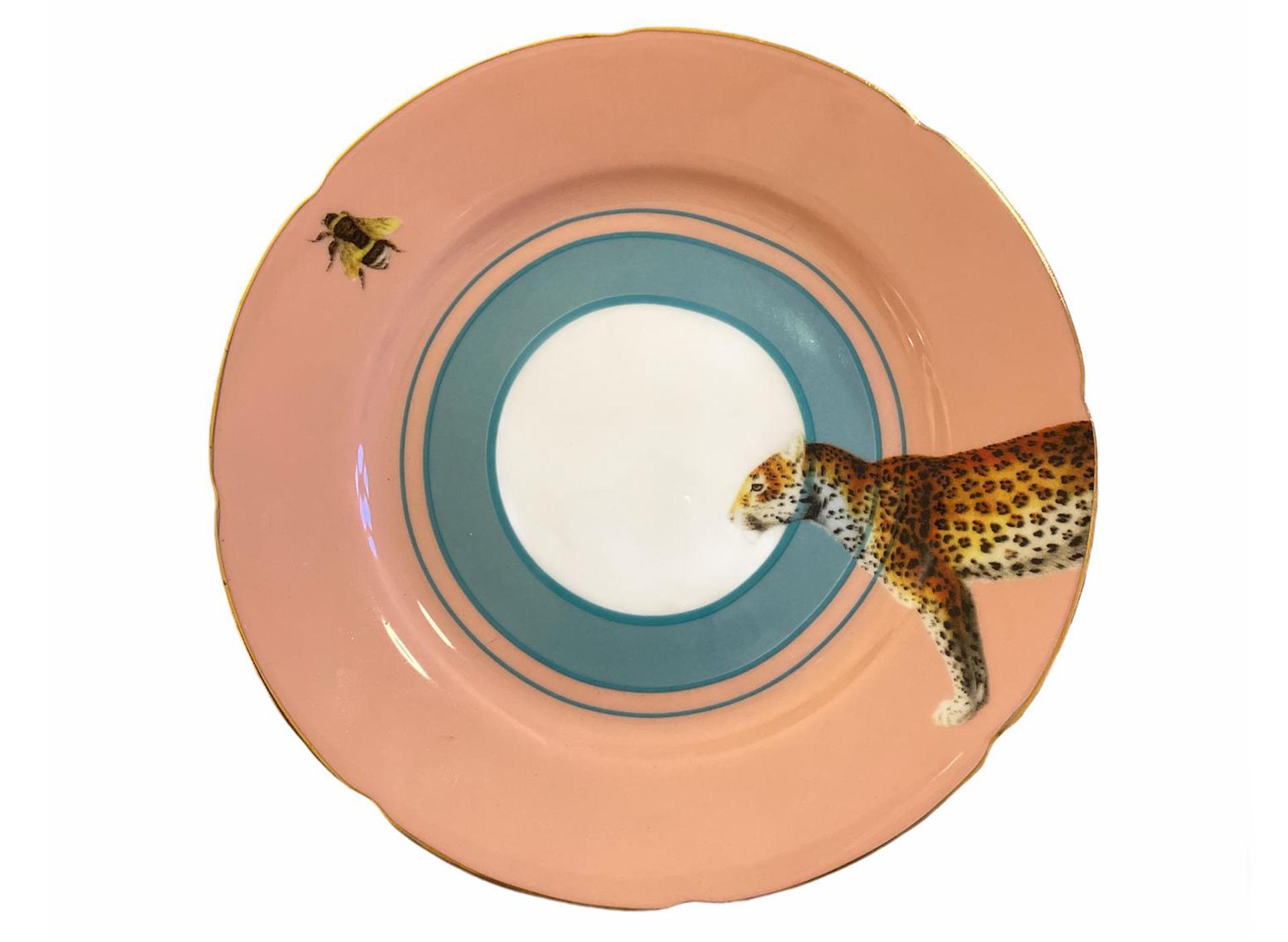 Dessertteller mit Leopard - rosa